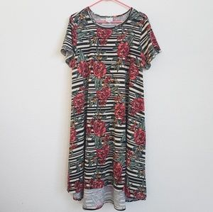 LuLaRoe Carly Strip Floral Dress, XL